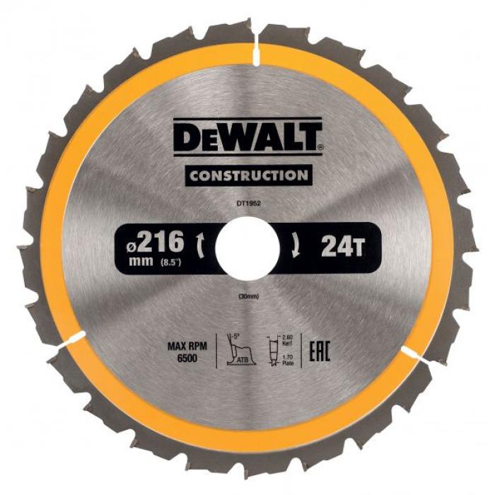 Пильный диск DeWALT CONSTRUCTION DT1952, 216/30 мм.