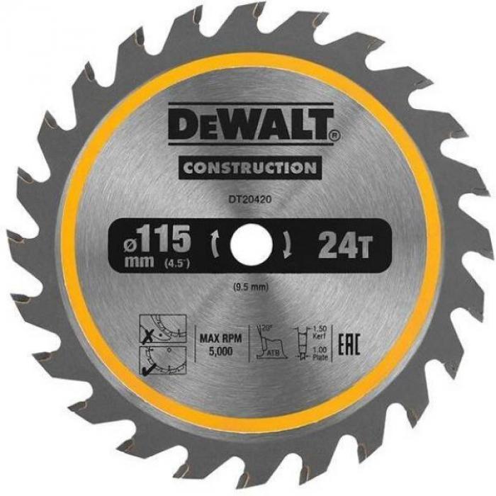 Пильный диск DeWALT DT20420, CONSTRUCTION 115 x 9.5 мм, 20 ATB