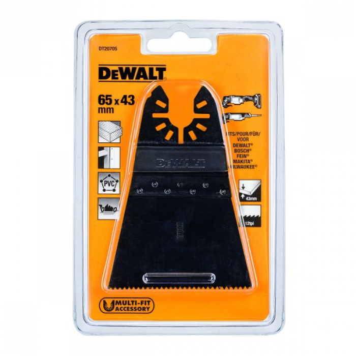 Погружное пильное полотно по дереву для многофункционального инструмента DeWALT DT20705, 43 x 65 мм