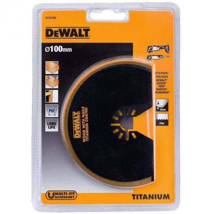 Сегментированный пильный диск DeWALT DT20709, Ti, 100 мм для мультитула