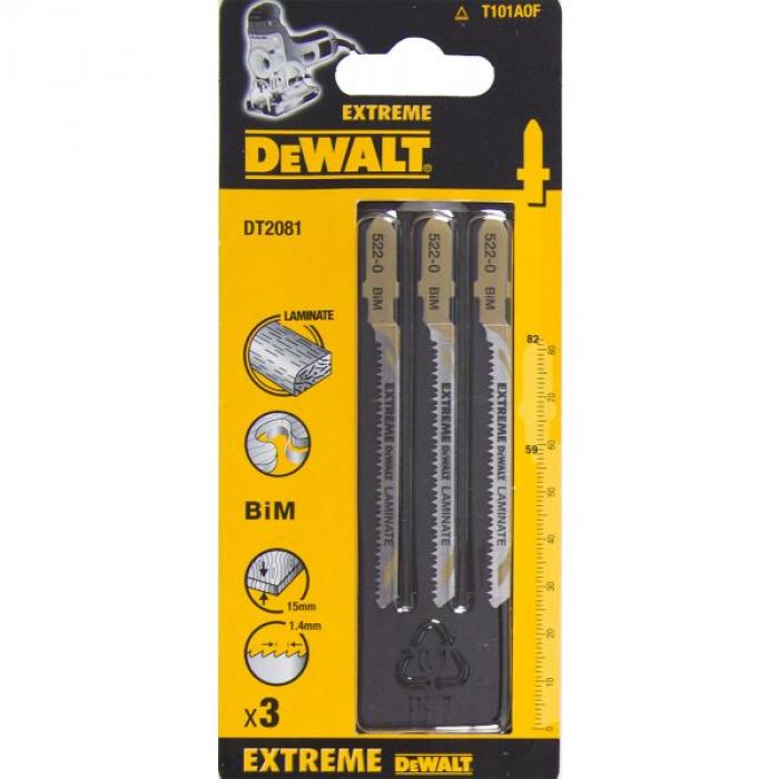 Пилка для лобзика DeWALT DT2081, по ламинату, BiM, 82 x 59 x 1.4 x 15 мм, T101AOF, 3 шт.