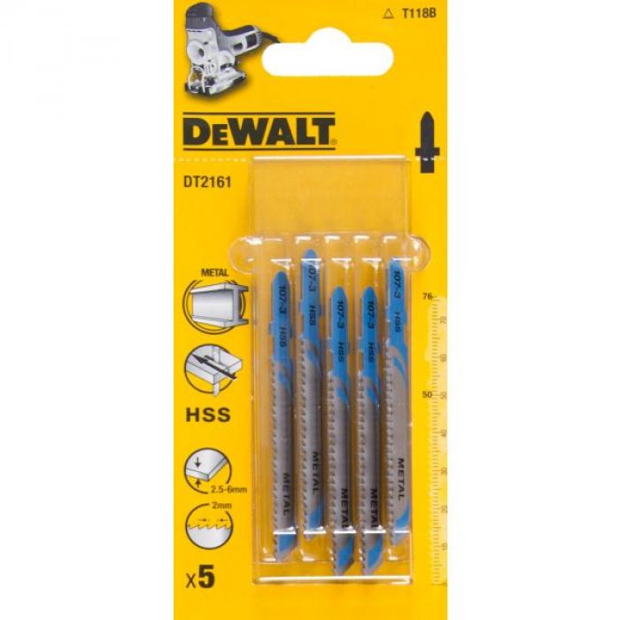 Пилка для лобзика DeWALT DT2161, по металлу HSS 76 x 50 x 2 x 6 мм, T118B, 5 шт.