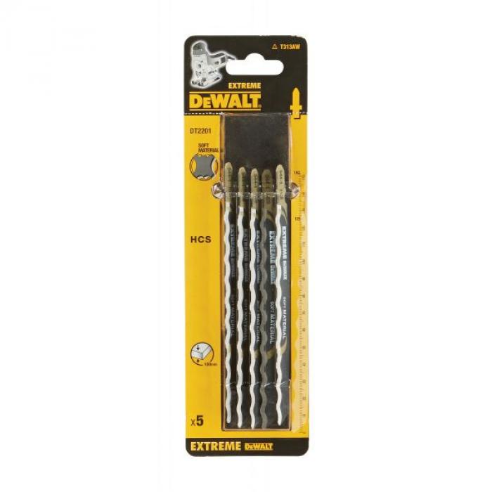 Пилка для лобзика DeWALT EXTREME DT2201, по мягким материалам, HCS, нож волнистый, 152 x 125 x 100 мм, T313AW, 5 шт.