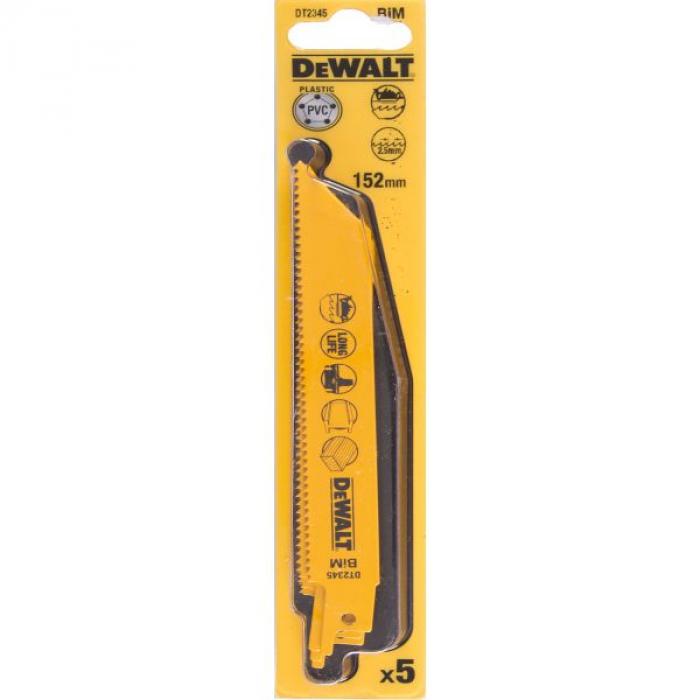 Полотно DeWALT DT2345, универсальное для сабельных пил биметаллическое 152 x 2.5 мм, S922HF, 5 шт.