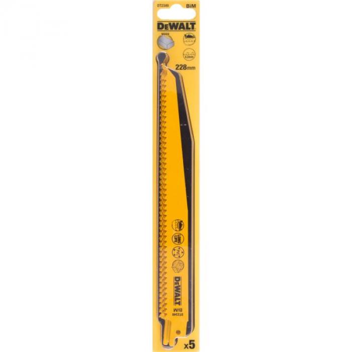 Полотно DeWALT DT2349, по дереву для сабельных пил биметаллическое, BiM, 228 x 4.2 мм, S1111DF, 5 шт.