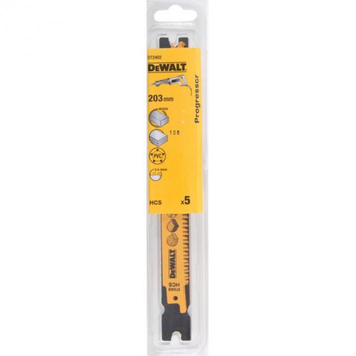Полотно DeWALT DT2402, Progressor по дереву для сабельных пил из высокоуглеродистой стали, HCS, 203 x 2.4-4 мм, S2345X, 5 шт.