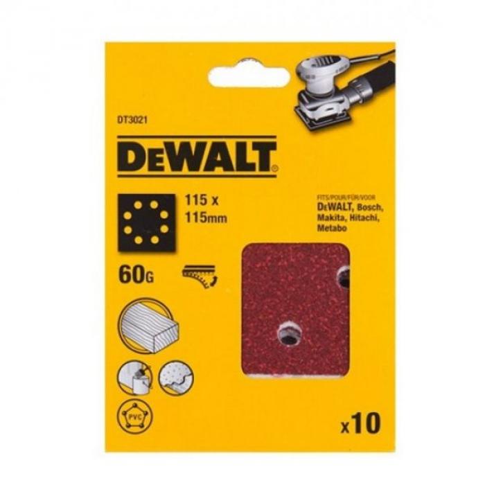 Шлифлисты перфорированные DeWALT DT3021, 115 x 115 мм, 60G, 10 шт.