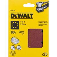 Шлифлисты перфорированные DeWALT DT3032, 115 x 115 мм, 80G, 25 шт.