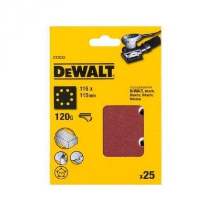 Шлифлисты перфорированные DeWALT DT3033, 115 x 115 мм, 120G, 25 шт.