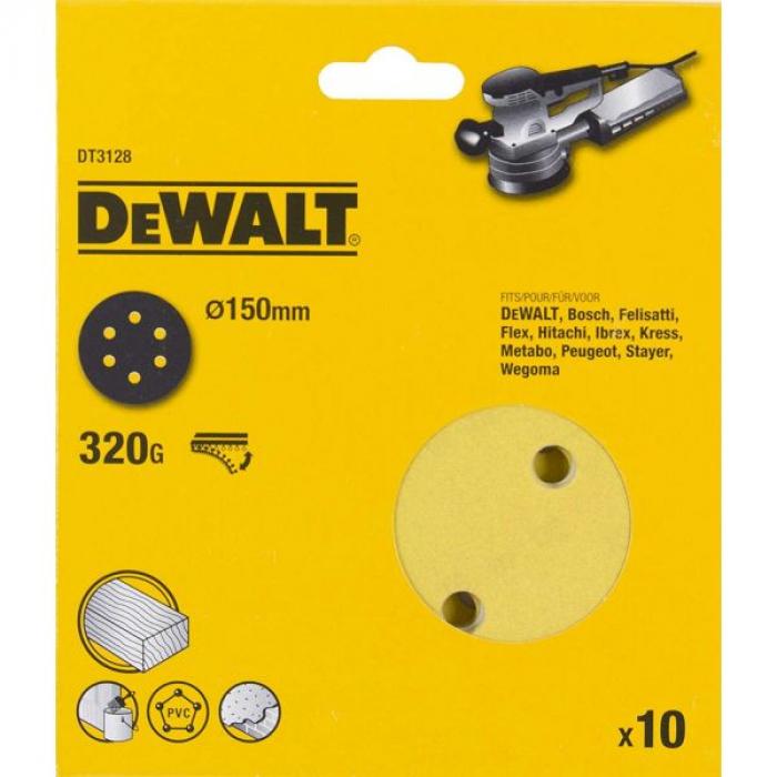 Шлифкруги DeWALT DT3128, 150 мм, 6 отверстий, 320G, 10 шт.