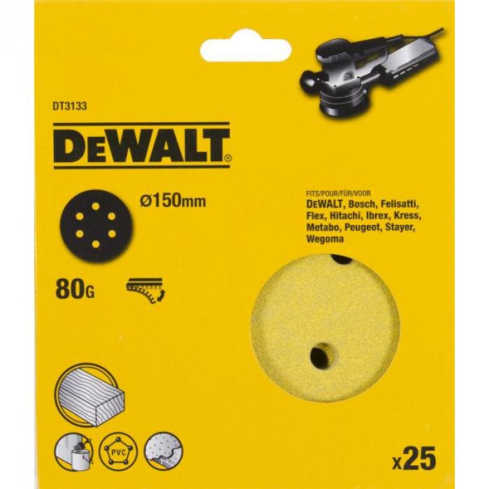 Шлифовальные круги DeWALT DT3133, 150 мм, 6 отверстий, 80G, 25 шт.
