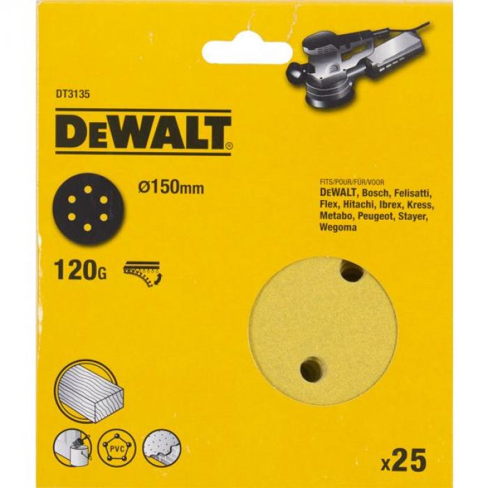 Шлифовальные круги DeWALT DT3135, 150 мм, 6 отверстий, 120G, 25 шт.