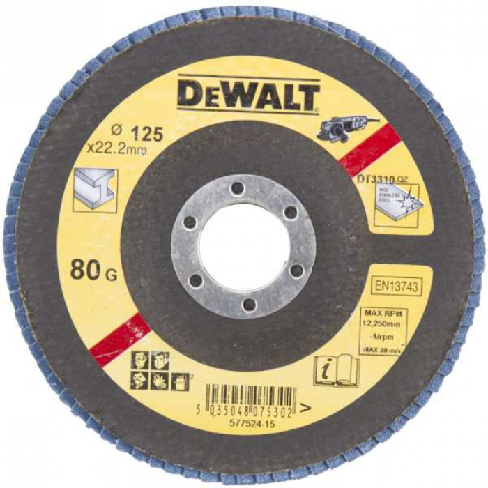 Лепестковый круг DeWALT EXTREME DT3310, 125 x 22.2 мм, 80G, тип 27