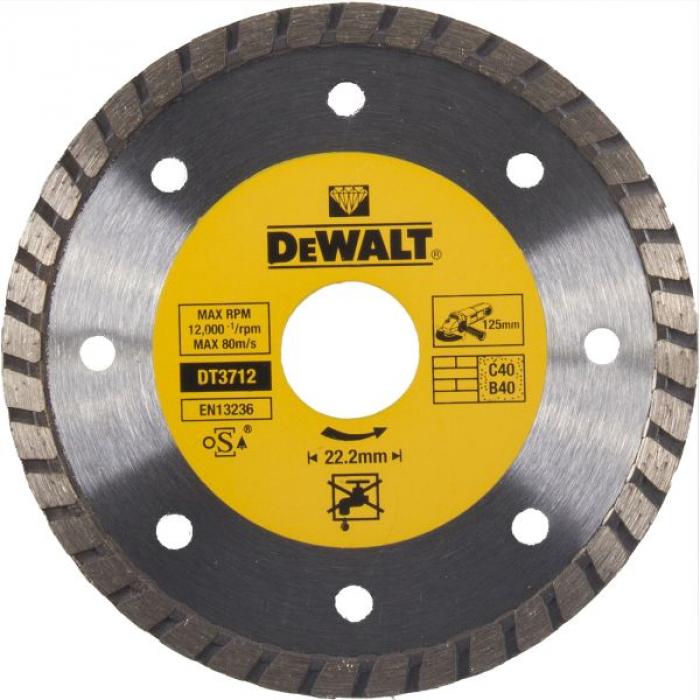 Алмазный круг DeWALT DT3712, Turbo, универсальный, 125 x 22.2 мм, h=7