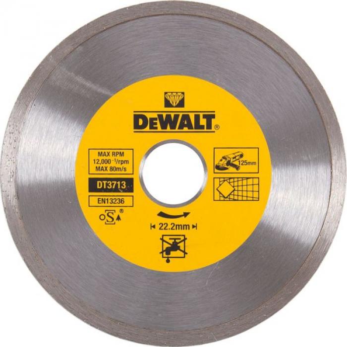 Алмазный круг сплошной по керамике DeWALT DT3713, 125 x 22.2 мм, h=5