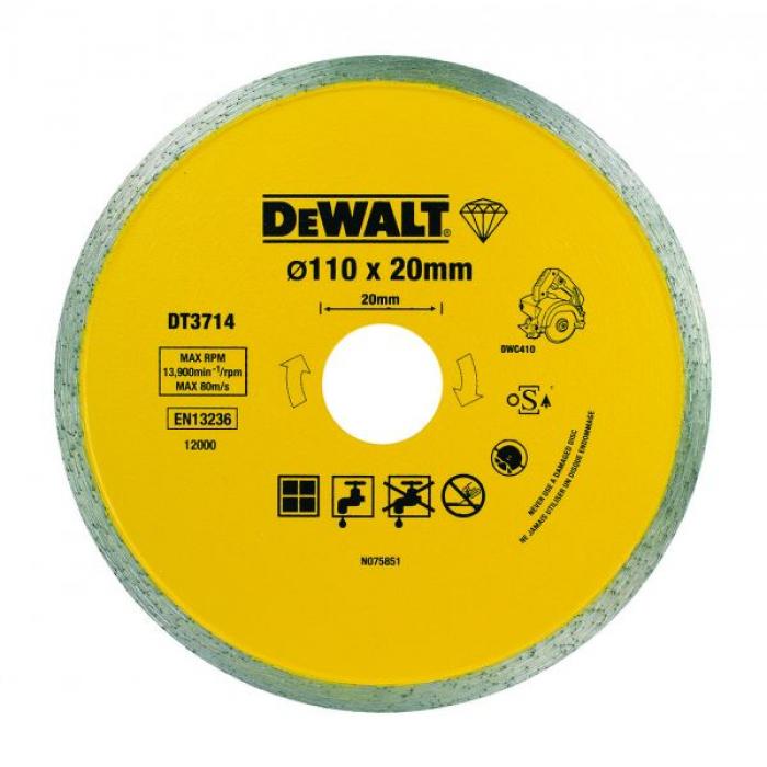 Алмазный круг сплошной по керамике DeWALT DT3714, для плиткореза DWC410, 110 x 20, h=5