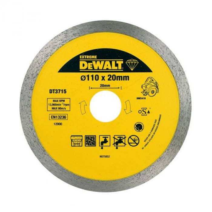 Алмазный круг сплошной по керамике DeWALT EXTREME DT3715, для плиткореза DWC410, 110 x 20, h=8