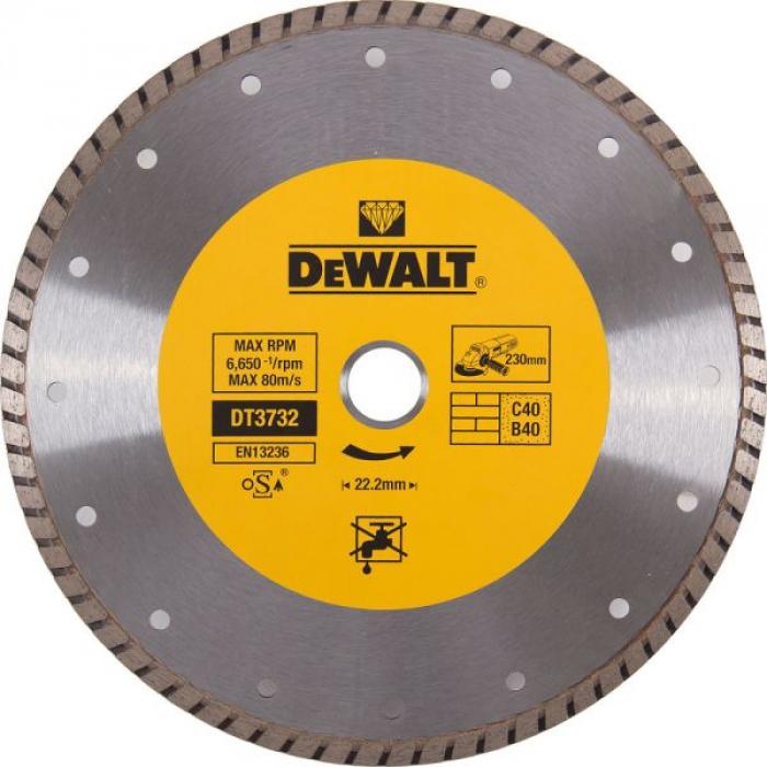 Диск алмазный отрезной DeWALT DT3732, Turbo, (230 x 22.2 мм) для угловой шлифмашины