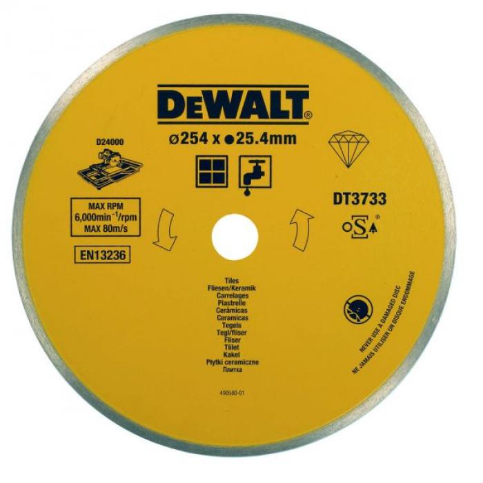 Диск алмазный по плитке DeWALT DT3733, (254 x 25.4 мм) для плиткореза D24000