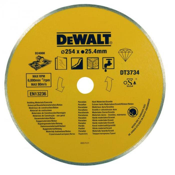 Диск алмазный по камню DeWALT DT3734, (254 x 25.4 мм) для плиткореза D24000