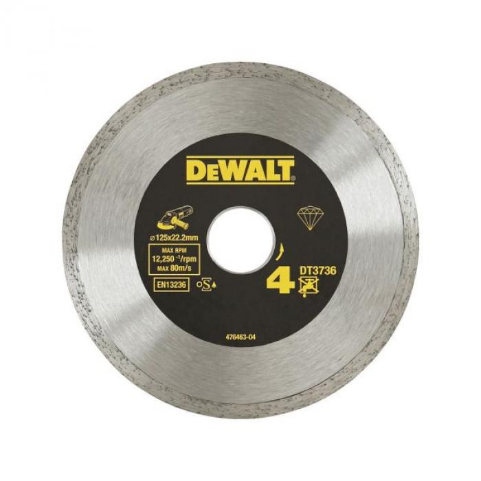 Алмазный круг сплошной по керамике DeWALT DT3736, 125 x 22.2 мм, h=7