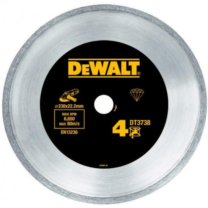 Алмазный круг сплошной по керамике DeWALT DT3738, 230 x 22.2 мм, h=7