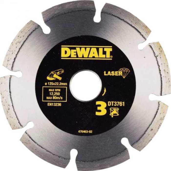 Алмазный круг сегментный по граниту DeWALT DT3761, 125 x 22.2 мм, h=7.5