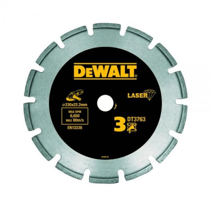 Алмазный круг сегментный по граниту DeWALT DT3763, 230 x 22.2 мм, h=8.5