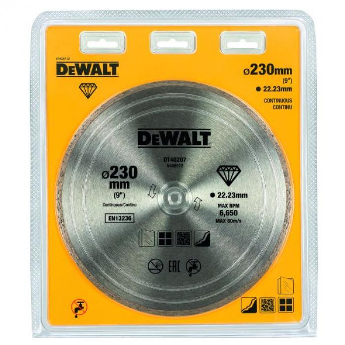 Алмазный круг сплошной по керамике DeWALT DT40207, 230 x 22.2