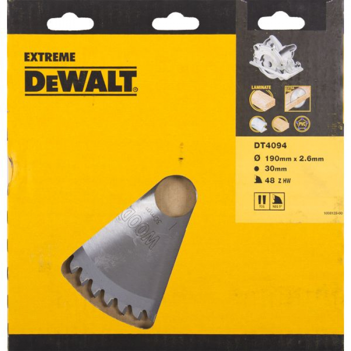 Пильный диск DeWALT EXTREME WORKSHOP DT4094, 190/30 мм.
