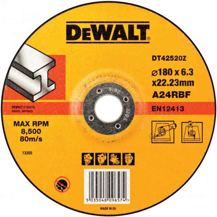 Круг обдирочный по металлу DeWALT DT42520Z, INDUSTRIAL, 180 x 22.2 x 6.3 мм, тип 27
