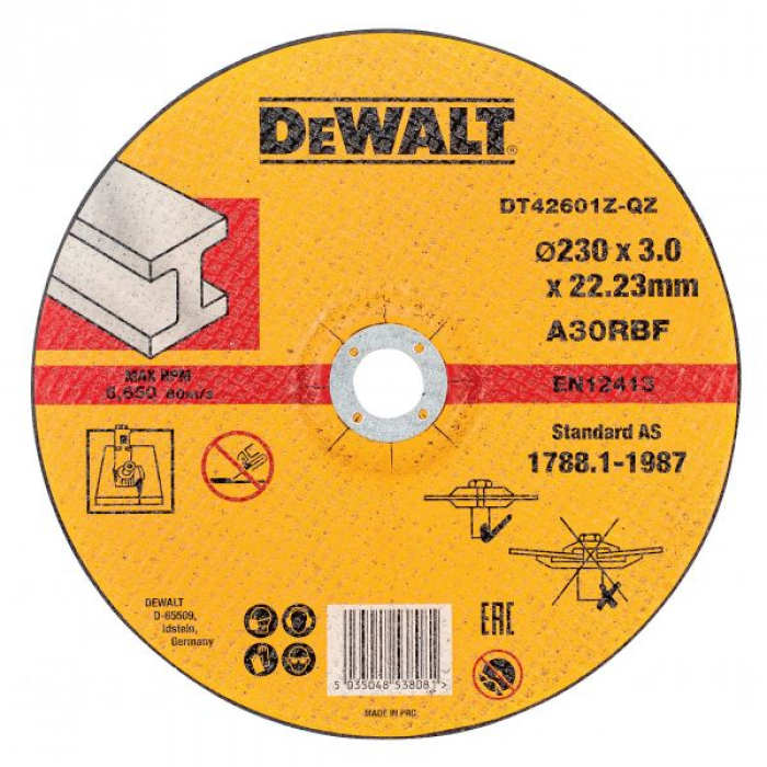 Круг отрезной по металлу DeWALT DT42601Z, INDUSTRIAL, (230 x 22.2 мм)
