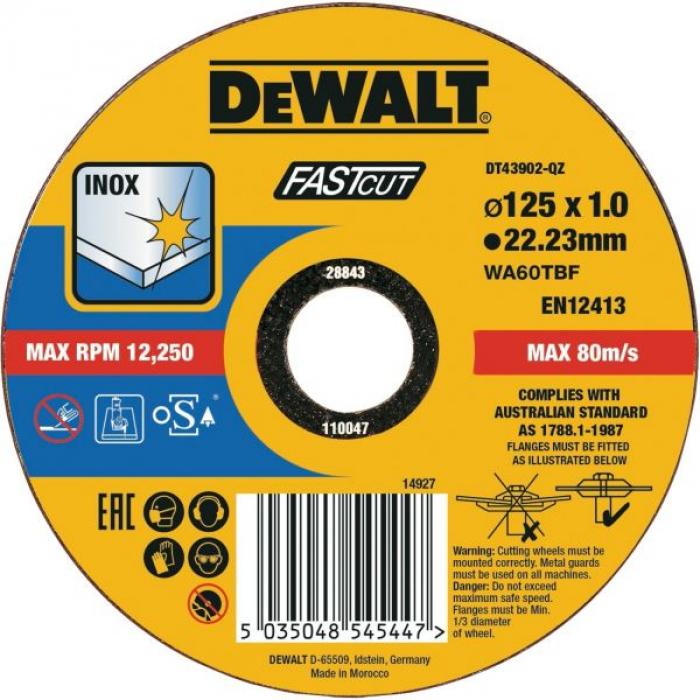 Круг отрезной DeWALT DT43902, быстрый рез, 125 x 22.2 x 1 мм, тип 41