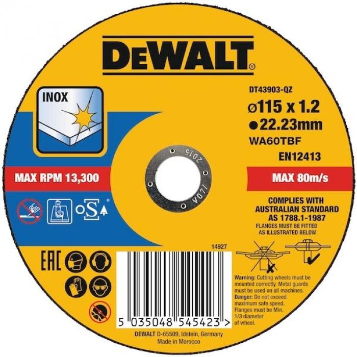 Круг отрезной по металлу EXTREME 115x22.2x1.2 мм Inox DeWALT DT43903-QZ