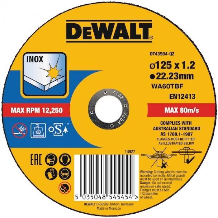 Круг отрезной по металлу DeWALT DT43904, 125 x 22.2 x 1.9 мм