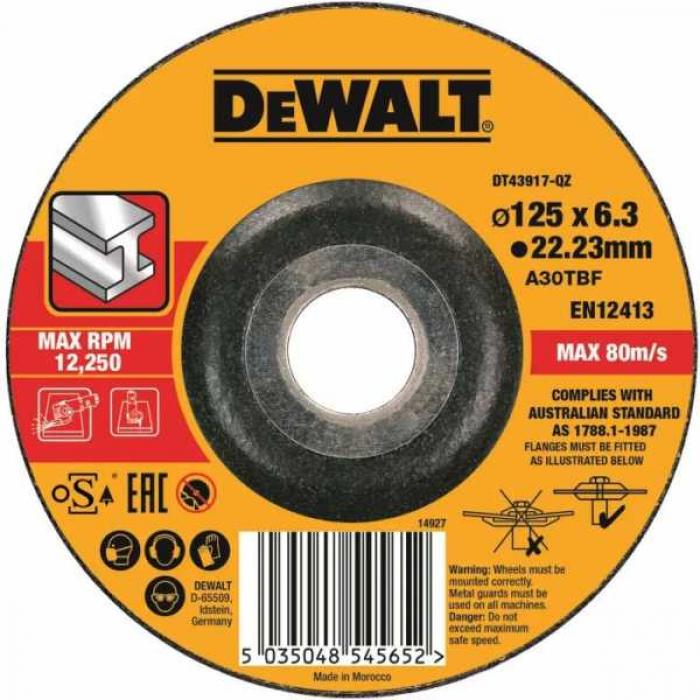 Круг обдирочный DeWALT DT43917, по металлу 125 x 22.2 x 6 3 мм, тип 27