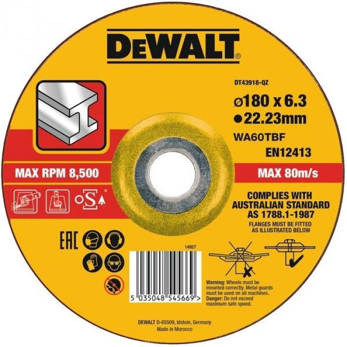 Круг зачистной по металлу EXTREME 180x22.2x6.0 мм DeWALT DT43918-QZ