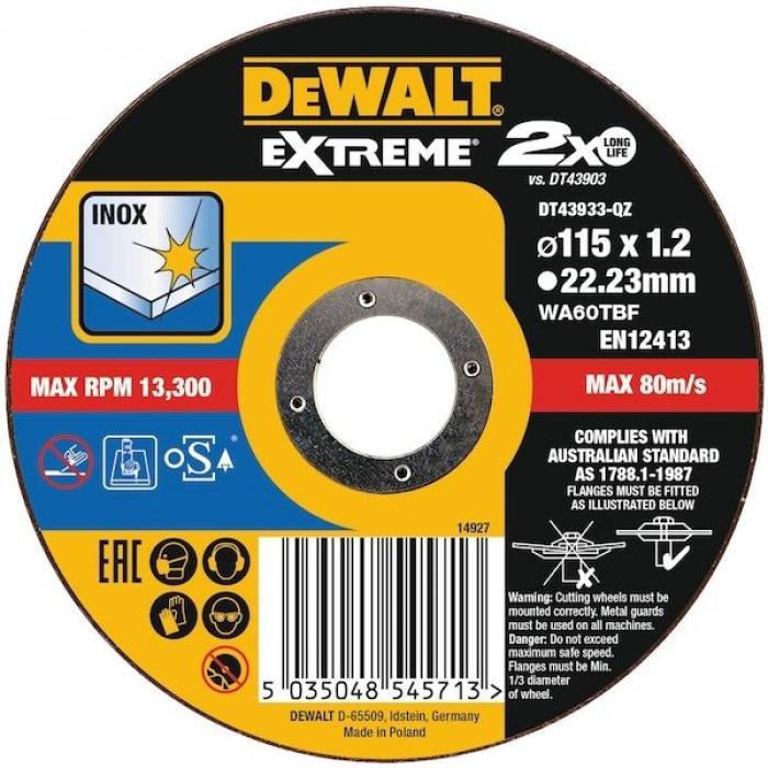 Круг отрезной EXTREME DeWALT DT43933, 115x22.2x1.2 мм