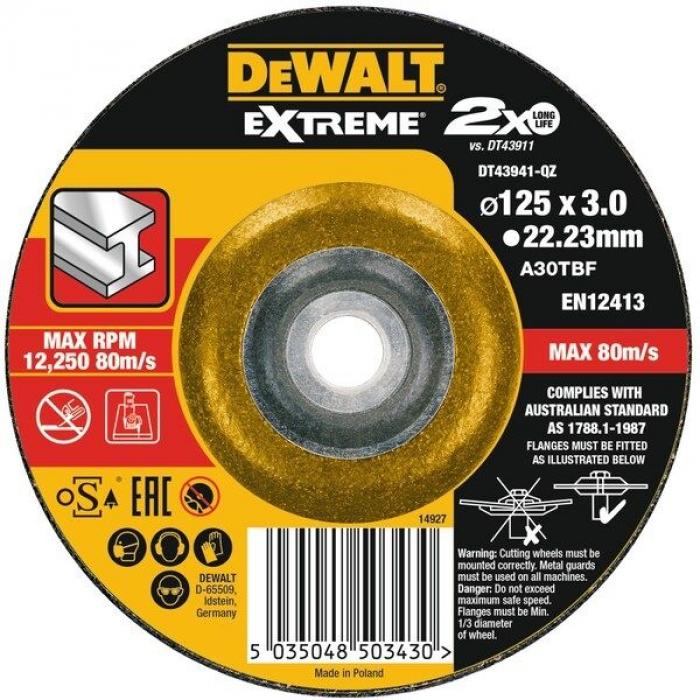 Круг отрезной EXTREME DeWALT DT43941, 125x22.2x3.0 мм