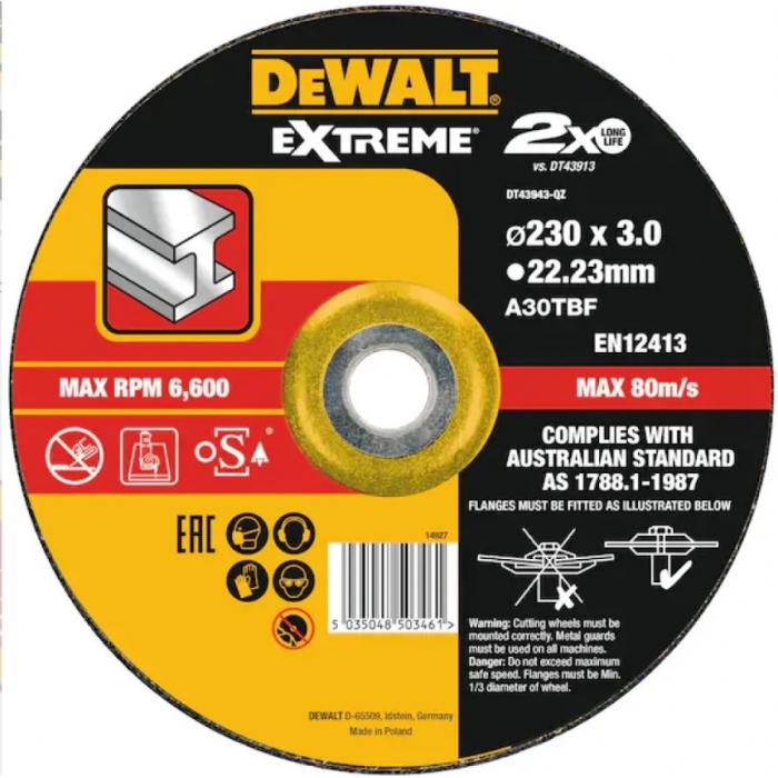 Набор (10 шт.) кругов отрезных по металлу EXTREME 115x22.2x1.2 мм Inox DeWALT DT43951-QZ