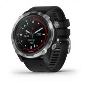 Умные часы стальные с черным ремешком Garmin Descent Mk2