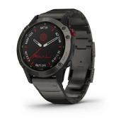 Умные часы титановые DLC карбон с DLC титановым ремешком Garmin Fenix 6 Pro Solar