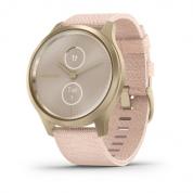 Умные часы светло-золотистые с плетеным нейлоновым розовым ремешком Garmin Vivomove Style