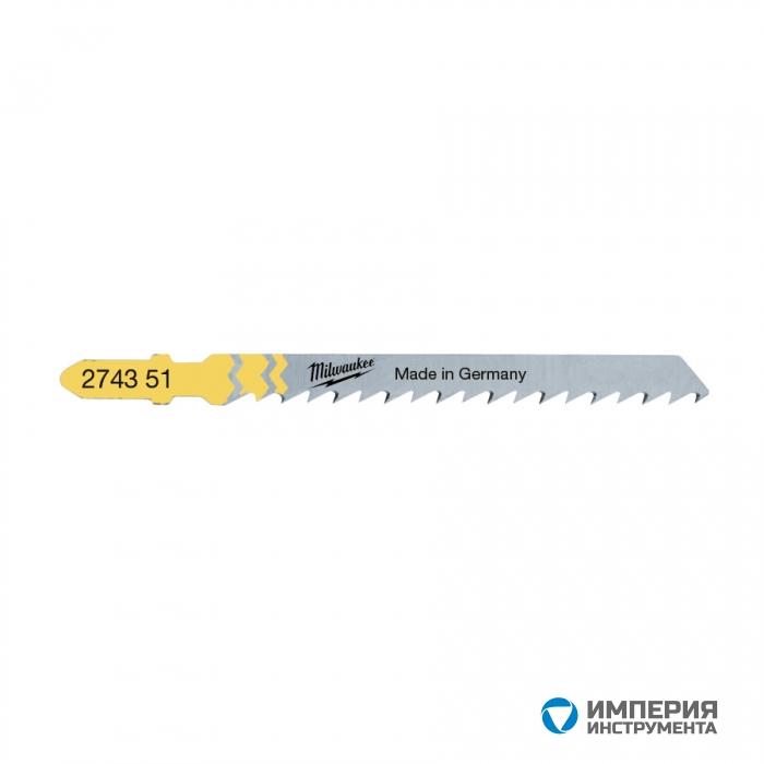 Полотно для чистой резки без сколов Milwaukee JigBl T101D 75 мм/ шаг зуба 4 мм (5шт)