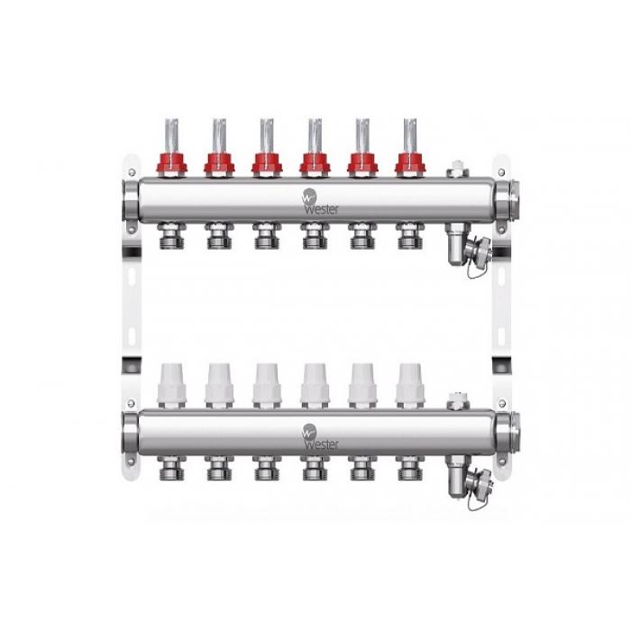 Коллектор нерж. Wester W902 1-3/4 в сборе с расходомерами на 6 выходов