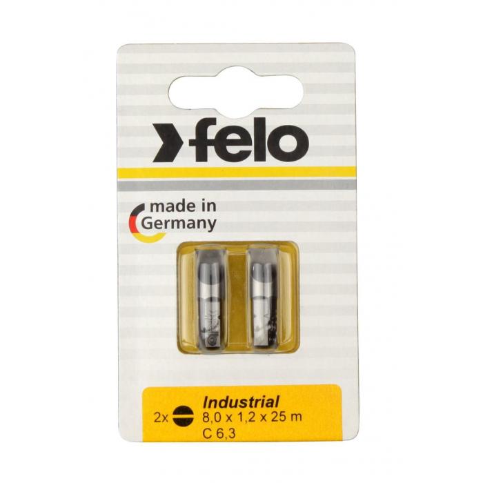 Бита Felo Плоская шлицевая 8X1,2X25, серия Industrial, 2шт в блистере