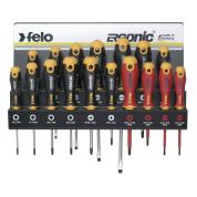 Набор отверток Felo SL/PZ/PH/Tx Ergonic и отверток VDE на стальной стойке, 17 шт