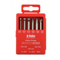 Набор бит Felo SL/H (+/-) Industrial 73 мм в кейсе, 6 шт
