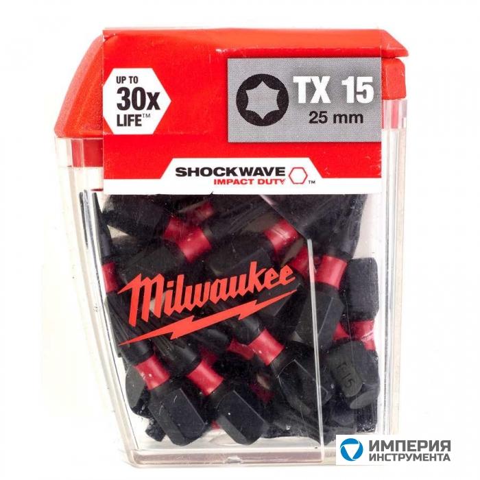 Биты для шуруповерта Milwaukee Shockwave Impact Duty TX15 х 25 мм (25шт)