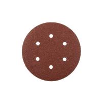 Шлифовальный круг на липучке GermaFleks 6 отверстий 150 мм/ зерно 240 электрокорунд бордовый KND